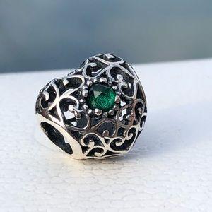 Pandora Signature Heart May Birthstone Charm